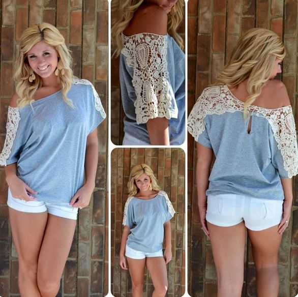 Take an old t-shirt cut the top and add lace! So Cute and easy!