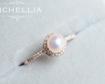 14K/18K Saltwater Akoya Pearl Engagement Ring with Halo Diamond, Rose Gold Pearl Ring, Akoya Pearl Promise Ring, Bridal Jewelry Gift