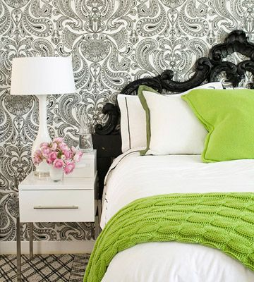 A Rococo-style black lacquered headboard, crisp whites, and that chunky knit lime green throw!Decor, Guest Room, Colors Combos, Black And White, Black White, Colors Schemes, Beds Frames, Bedrooms, Accent Colors