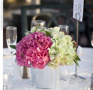 Simple, pink and green hydrangea centerpiece