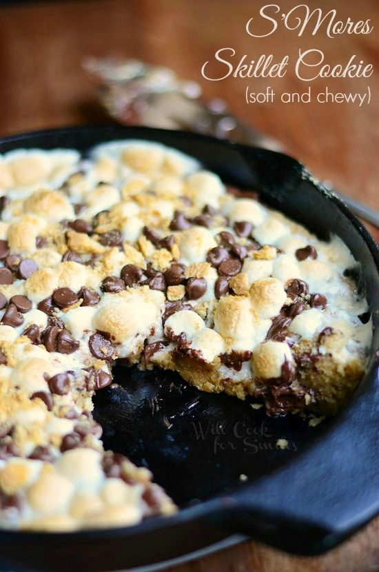 S'Mores Skillet Cookie   from willcookforsmiles.com