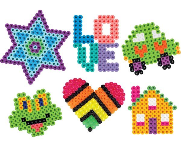 perler / melty bead variety ... star love car frog heart house