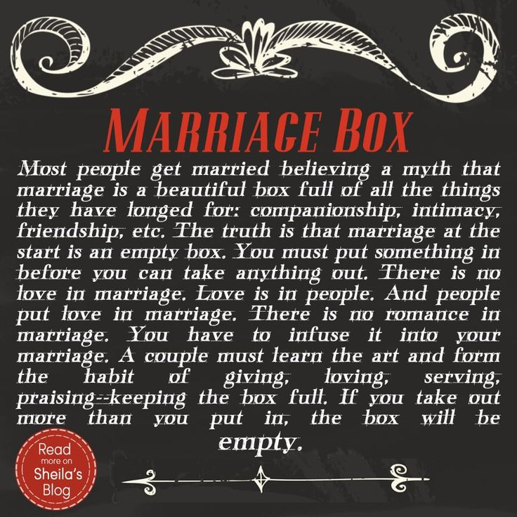 It's Wednesday, the day when we talk marriage! This week I'm taking a hiatus while I finish the edits to my book 9 Thoughts That Can Change Your Marriage, and so I've asked guest posterDarlene Lopez to tell us about her marriage box--and how it changed the way she saw her relationship. When I got married 13 years ago we were given a beautiful wooden box with this poem, Marriage Box, written in it. This box truly has been an inspiration to me in my marriage. Marriage truly is li...