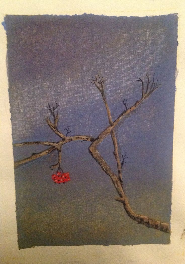 Sorbus in winter, acrylics