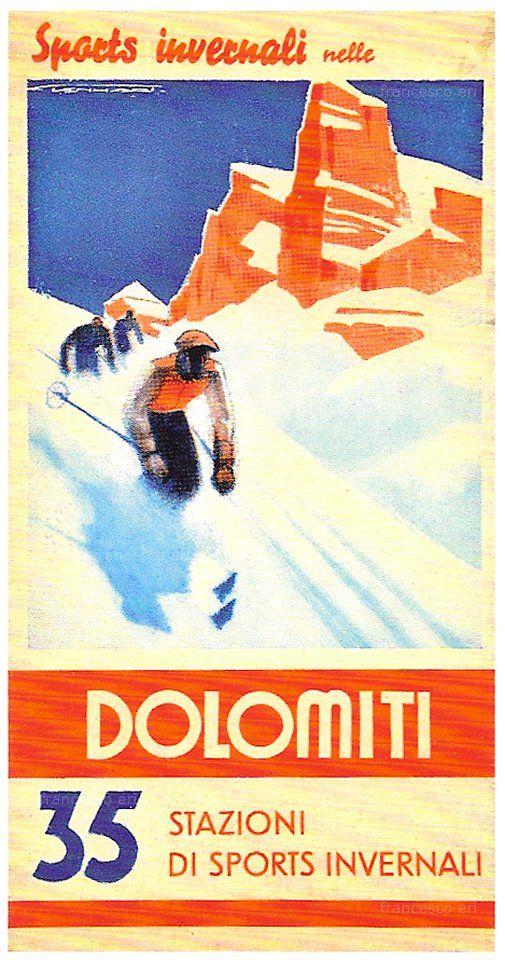 vintage ski poster - #Dolomiti #Dolomiten #Dolomites #Dolomitas