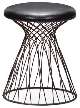 Spike Stool Rusted metal frame & Black - industrial - Ottomans And Cubes - Zuo Modern Contemporary