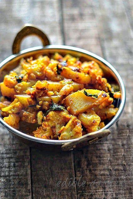 Aloo Gobi Recipe - Dry Aloo Gobi Sabzi Recipe - Potato Cauliflower Dry Curry Sometimes when I make aloo gobi, I use the cauliflower core a substitute for potatoes.