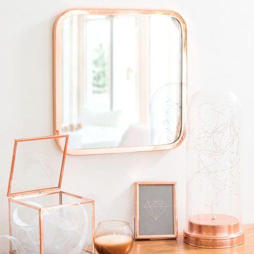 ARIANA COPPER square copper-colour metal mirror H 25 cm