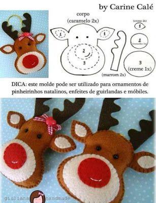 20 ideas de manualidades de Navidad con fieltro ~ Solountip.com