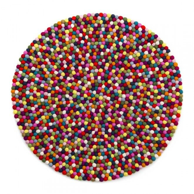 Multicolour kugletæppe | Ruggit.dk