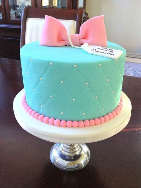 Turquoise gift box cake with marshmallow fondant.