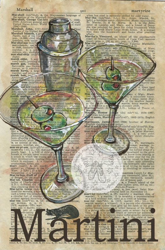 PRINT:  Martini Mixed Media Drawing on Antique Dictionary by flyingshoes