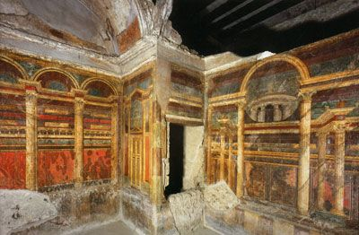Interior design of the villa of the mysteries in pompeii for Ancient roman interior decoration