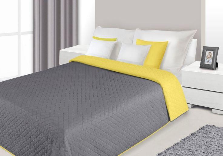 Narzuty i kapy dwustronne w kolorze szaro żółtym na łóżko