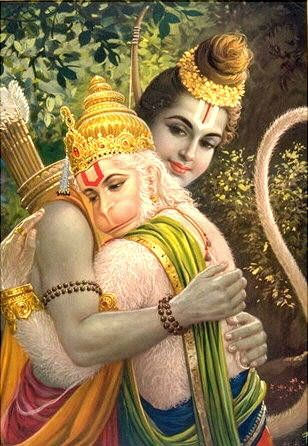 Hanuman, whose image is in the form of a monkey, is particularly associated with the Ramayana, the story of Rama and Sita. Hanuman is also regarded as a god in his own right and as the son of the wind god he is able to fly and change shape at will. He is one of the few gods without a consort.