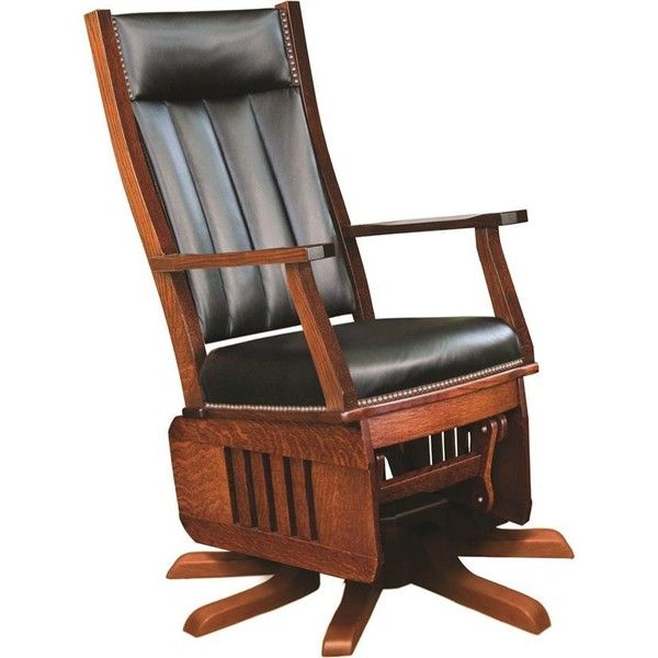 Amish Leola Mission Swivel Glider Rocking Chair With Optional Ottoman  (£740) ❤ Liked