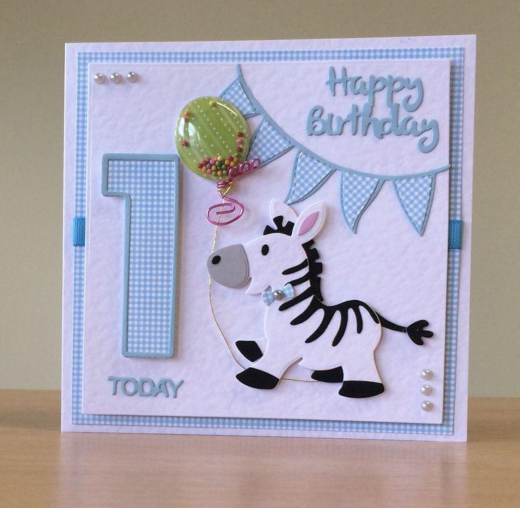 1st Birthday Card Handmade Marianne Zebra Die For More Of My