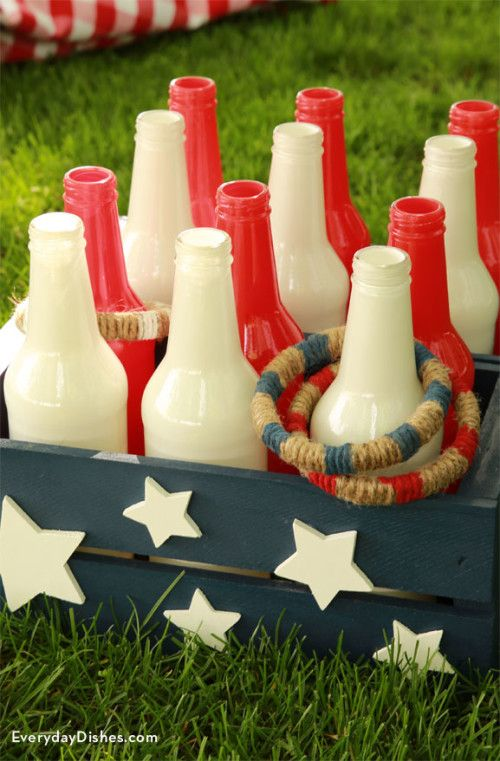 DIY bottle ring toss game. Such a fun backyard game for your 4th of July party!