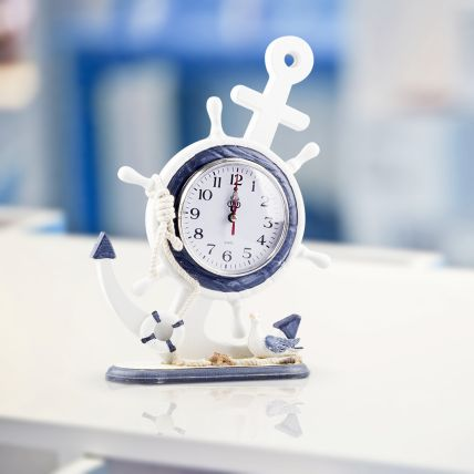 Deniz Temalı Çapa Ahşap Masaüstü Saat