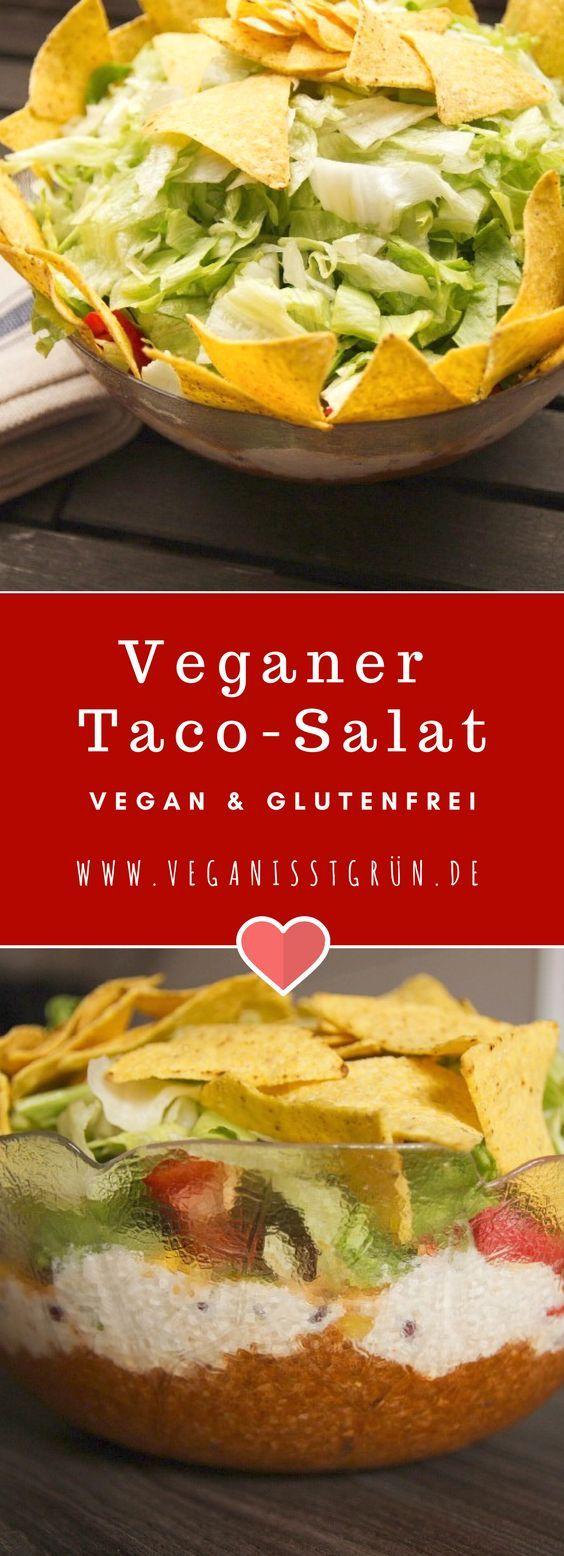 Veganer Taco-Salat mit Sojahack und Sour Cream auf Basis von Cashews. Der ideale Salat für Parties. Dazu #vegan und #glutenfrei. Probier dieses leckere #Tacosalat Rezept unbedingt einmal aus.