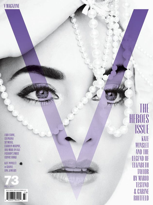 English actress Kate Winslet stars on the cover of V Magazine's 'Heroes' issue dripping in Chanel pearls, shot by Mario Testino, styled by C...