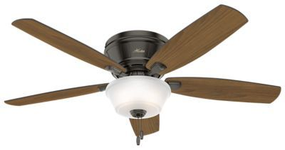 The low-profile Estate Winds is a large fan that stays close to ceiling, making it ideal for great rooms and areas with low ceilings. The vertical line details on the motor housing give this product an updated look that blends right in with casual or traditional d&eacute:cor. This cohesive fan moves a substantial amount of air and puts out plenty of light to perfectly meet the needs of your larger spaces. Includes bowl light kit with Cased White glass WhisperWind® motor delivers...