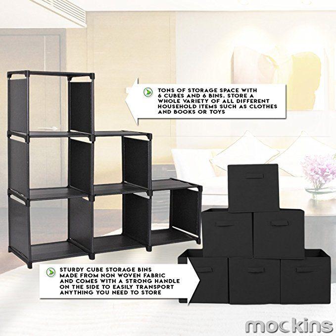 9b3b31cf960b Mockins 3 Tier Storage Rack Bookcase Shelf Bundle 6 Foldable Cube ...
