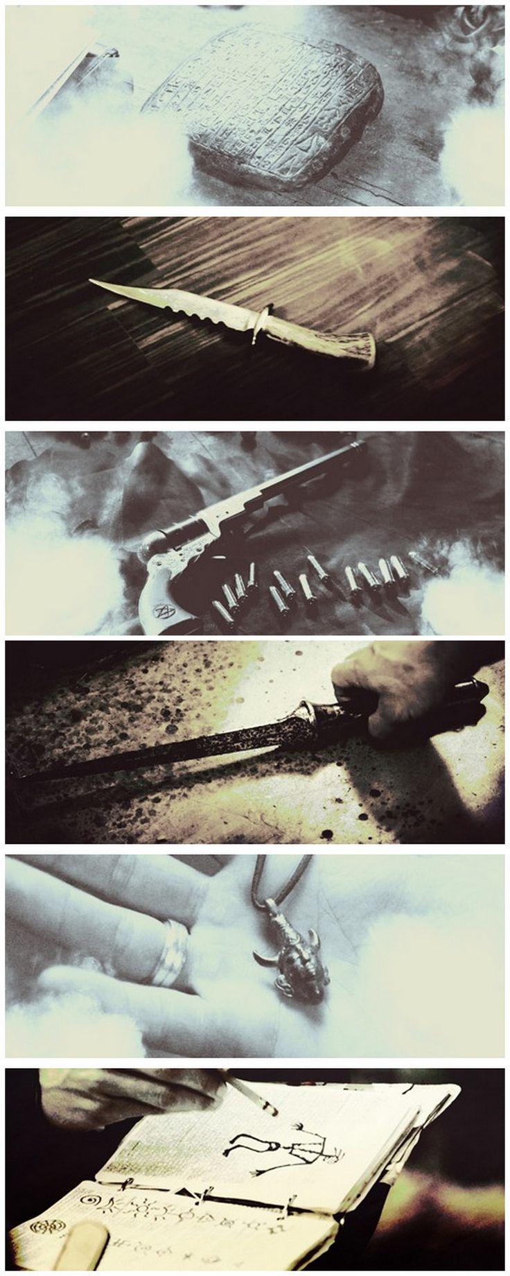 Tablet, demon killing knife that Ruby gave them, the colt, angel-killing dagger, samulet, john's journal