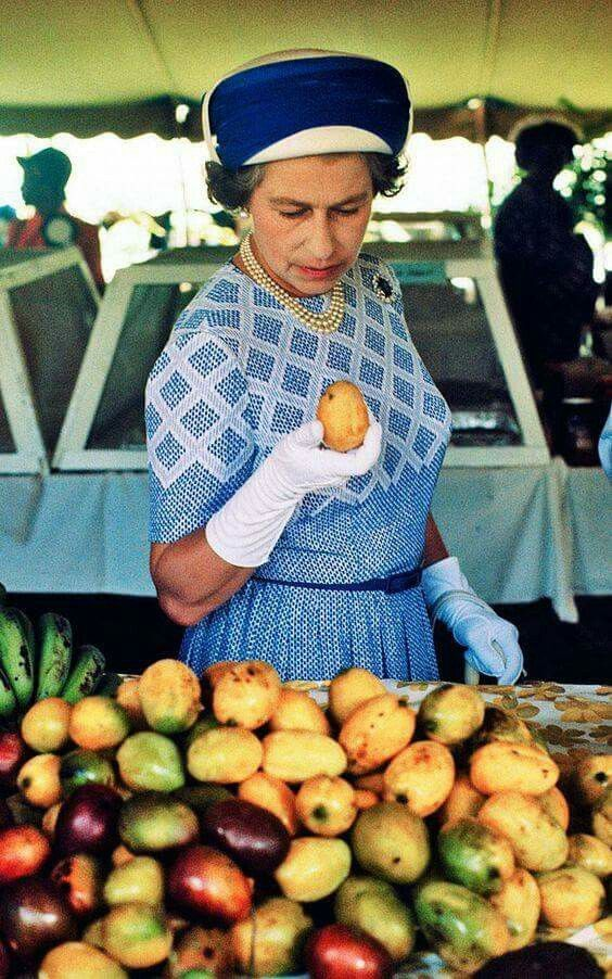 The Queen wearing a patterned blue dress with co-ordinated hat and white gloves, during a visit to the British Virgin Islands in 1977.