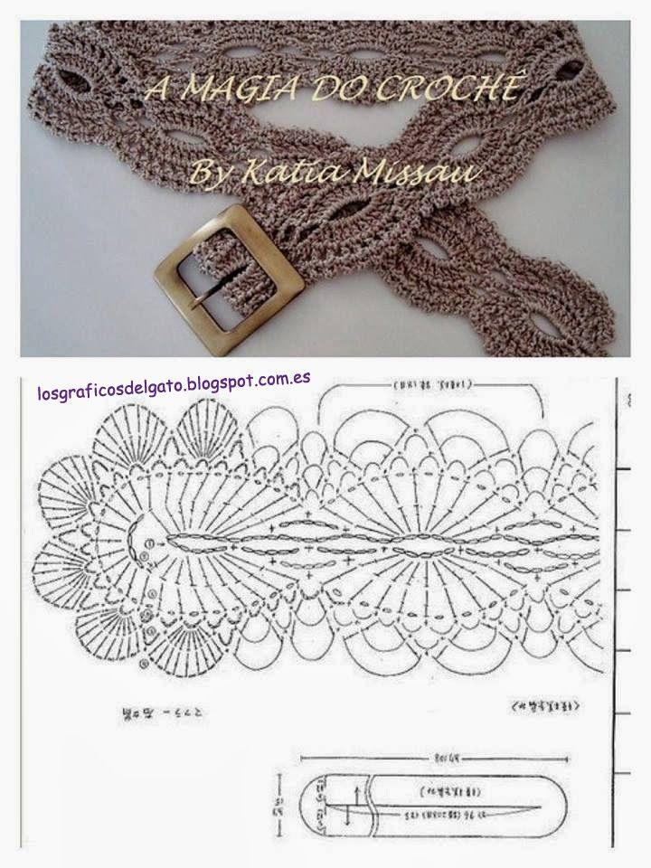 Crochet Belt - Free Crochet Diagram - (losgraficosdelgato.blogspot)