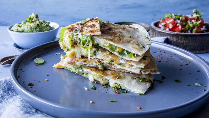 Quesadilla: Quesedillas med smeltet ost og guacamole