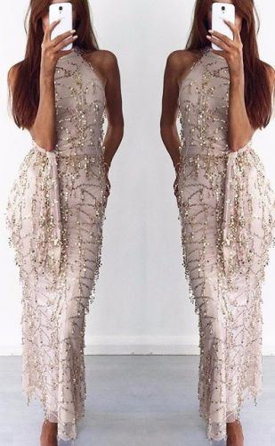 New hanging neck strap sexy dress tassel sequins dress
