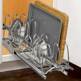 Found it at Wayfair - Roll Out Pan Lid Holder - Pull Out Kitchen Cabinet Organizer Rack - 7.25 inch wide x 21 inch deep - Chrome