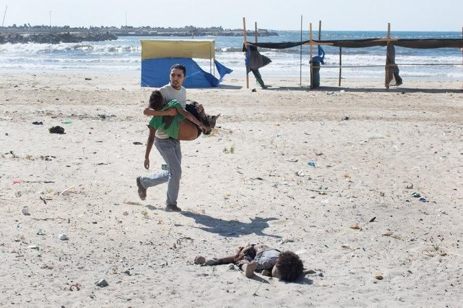 From mid-July during the conflict in Gaza.  As a parent of a young child, this is very difficult to look at.