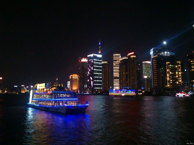 Night View at Shanghai #night #view #shanghai #nightview #river #ship #boat #building #lamp #romanticview #light