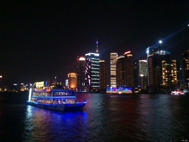 Night View at Shanghai #night #view #shanghai #nightview #river #ship #boat #building #lamp #romanticview #light