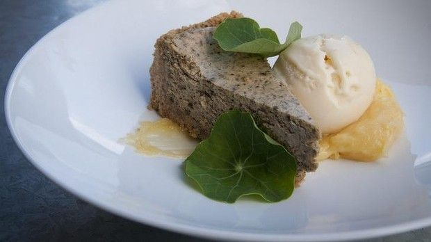 Even desserts involve cheese, such as this licorice root baked cheescake.