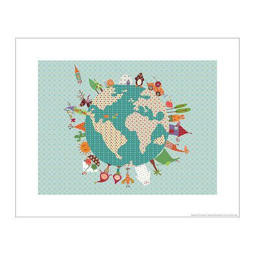 "Artwork (titled ""happy world"") for the nursery. BILD Poster IKEA Motif created by Alida Ginebreda. $5"
