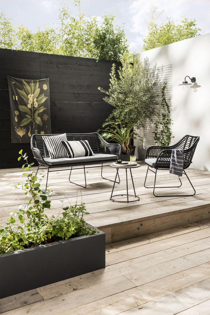 Stadse zwarte urban black garden furniture karwei with for Zwarte tuinstoelen