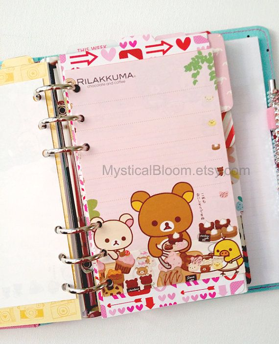 Cute Kawaii Rilakkuma Bear Filofax Refills. Personal Pocket Planner Size. Chocolate & Coffee Themes. Stationary Diary, Organizer Scheduler