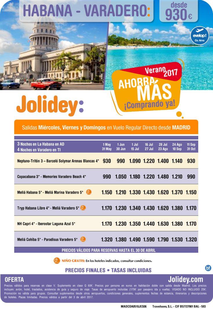 Ahorra mas - !Comprando Ya!  Caribe verano 2017. Combi Cuba desde 930E. Salidas desde Madrid