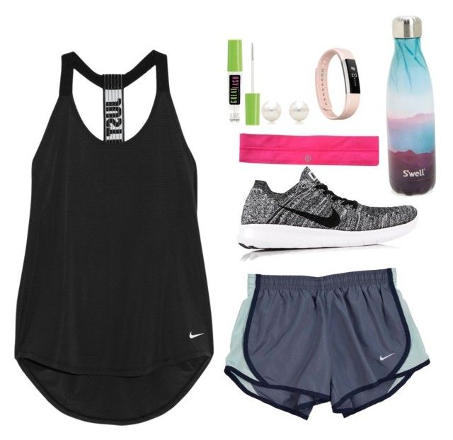 """What I wore to crossfit today"" by elizabeth-preppy ❤ liked on Polyvore featuring NIKE, lululemon, Fitbit, S'well, Tiffany & Co. and Maybelline"
