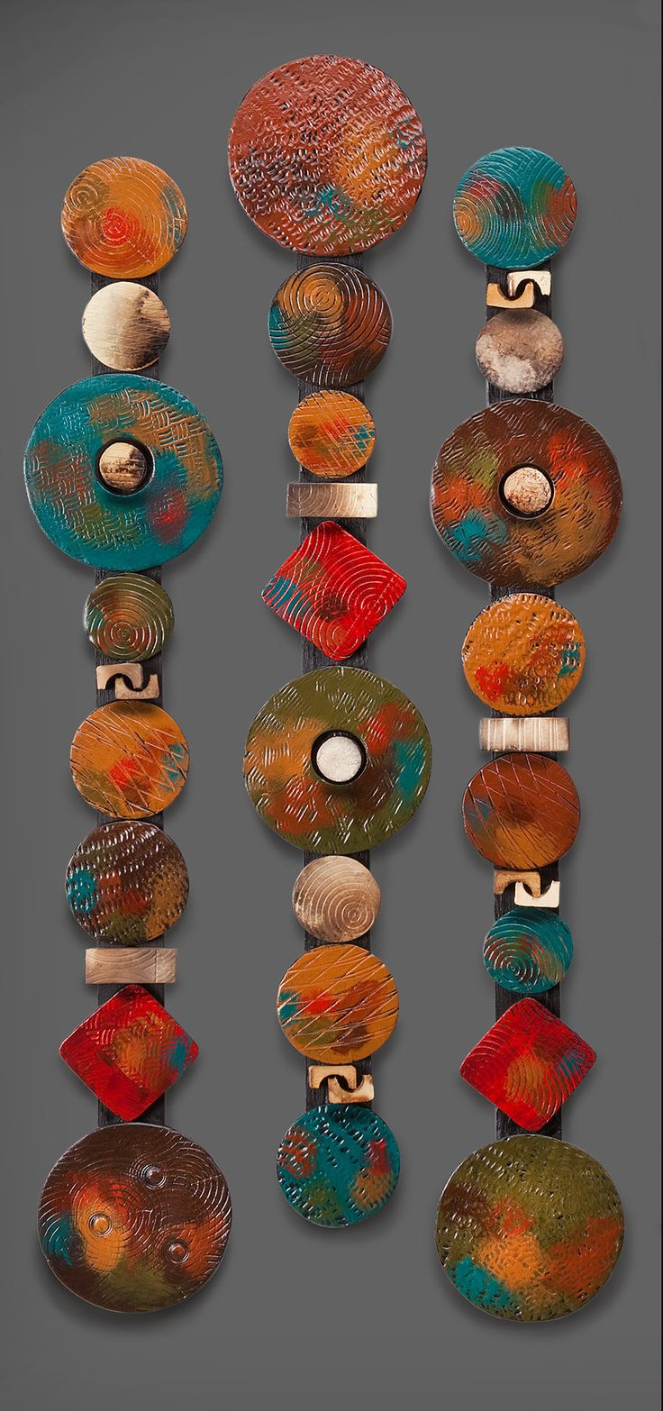 Circle Sticks with Red Square by Rhonda Cearlock: Ceramic Wall Art available at www.artfulhome.com