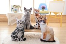 Hot sale stuffed cat pillow lifelike printed cat shaped pillow Plush 3D Cat Printing Pillow