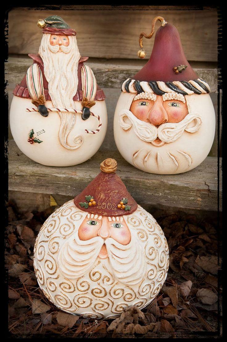 such cute gourd santas!