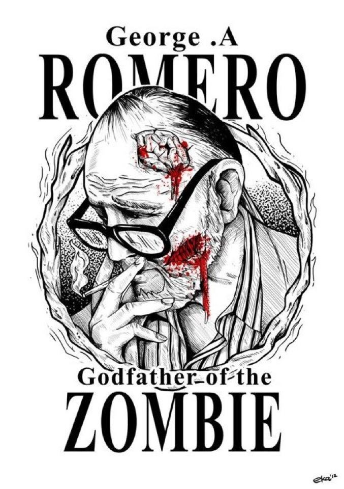 George A. Romero Godfather of the Zombie, bloody face glasses,George A Romero's , Dawn Of The Dead Movie,