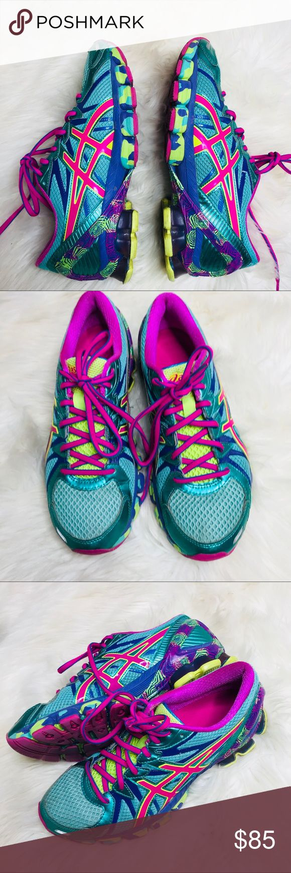 ASICS Gel Sendai 3 Neon Running Shoes Great preowned condition, no scuffs or tears. No stains. Women's Size 9 Asics Shoes Athletic Shoes