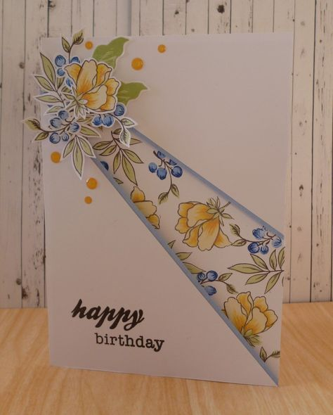 Handcrafted by Helen: Peony bouquet recessed panel card. (Pin#1: Folds... Pin+: Flowers: SU-Fussy-Cut).