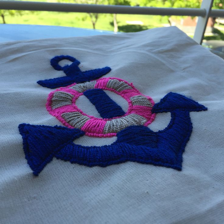 #Mexican #Embroidery #Anchor #Navy #Style #cushion