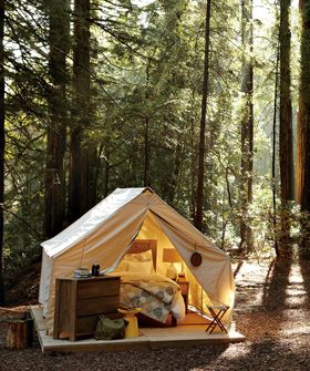 forest fort- I line how it suits up and off the ground.  The father away from the bugs the better!: Glamping Thi, In Style, Tent Camping, Kinda Camps, Backyard Camping, I D Camps, Forests Forts, Canvas Tent, Camping Glamping